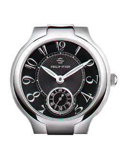 Philip Stein Large Black Round Watch Head, Steel