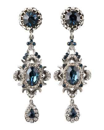 Blue Crystal Clip Earrings