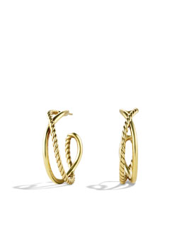 David Yurman Crossover Hoop Earrings in Gold