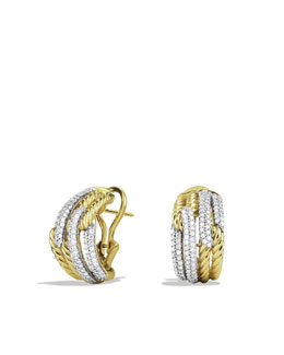 David Yurman Labyrinth Double-Loop Earrings with Diamonds in Gold