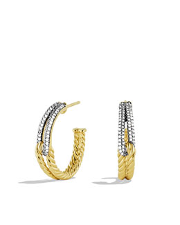 David Yurman Labyrinth Hoop Earrings with Diamonds in Gold