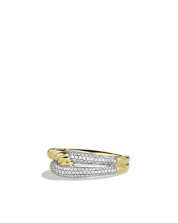 David Yurman Labyrinth Single-Loop Ring with Diamonds in Gold