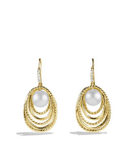 David Yurman Pearl Crossover Drop Earrings with Diamonds in Gold