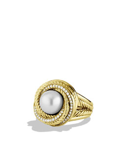 David Yurman Pearl Crossover Ring with Diamonds in Gold