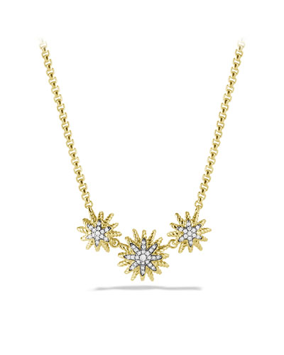 Starburst Necklace with Diamonds in Gold
