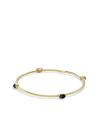 David Yurman Color Classics Four-Station Bangle with Black Onyx in Gold