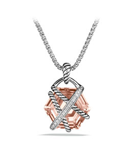 David Yurman Cable Wrap Pendant with Morganite and Diamonds in Gold on Chain
