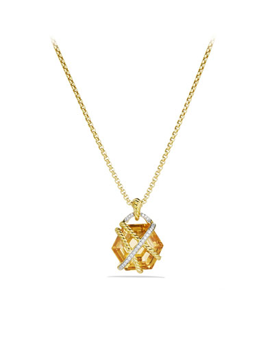 David Yurman Cable Wrap Pendant with Champagne Citrine and Diamonds in Gold on Chain