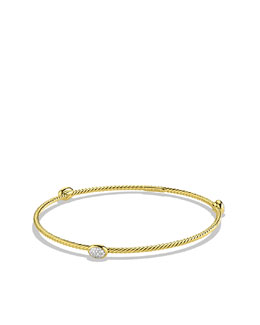 David Yurman Confetti Three-Station Bangle with Diamonds in Gold