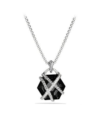 David Yurman Cable Wrap Pendant with Black Onyx and Diamonds on Chain