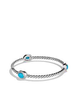 David Yurman Color Classics Three-Station Bangle with Turquoise and Diamonds
