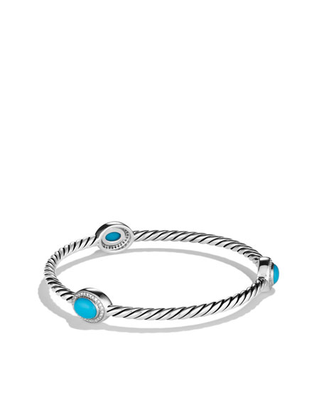 Color Classics Three-Station Bangle with Turquoise and Diamonds