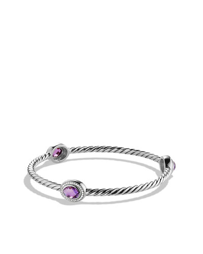 David Yurman Color Classics Three-Station Bangle with Amethyst and Diamonds