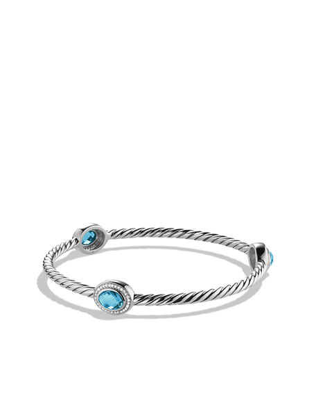 Color Classics Three-Station Bangle with Blue Topaz and Diamonds