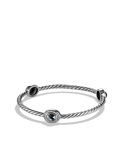 David Yurman Color Classics Three-Station Bangle with Hematine and Diamonds