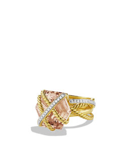 David Yurman Cable Wrap Ring with Morganite and Diamonds in Gold