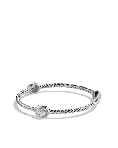 David Yurman Color Classics Three-Station Bangle with Crystal and Diamonds