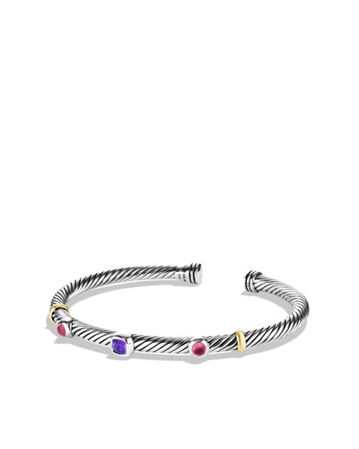 David Yurman Renaissance Bracelet with Amethyst and Gold