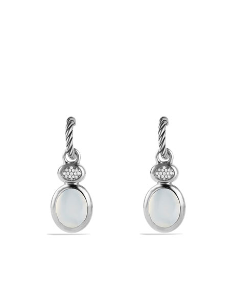 Renaissance Drop Earrings with Moon Quartz and Diamonds