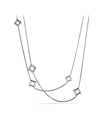 David Yurman Quatrefoil Chain Necklace with Diamonds