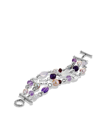 Bead Three-Row Bracelet with Amethyst and Pearls