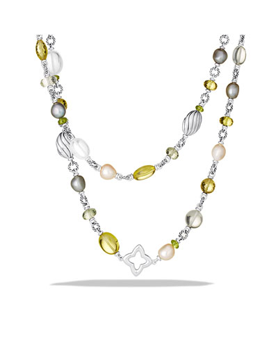 David Yurman Bead Necklace with Lemon Citrine and Pearls