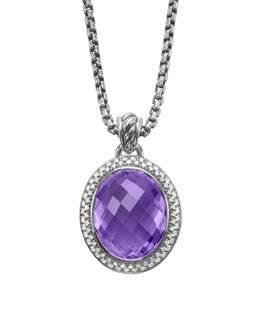 David Yurman Signature Oval Pendant, Amethyst, 22x18mm