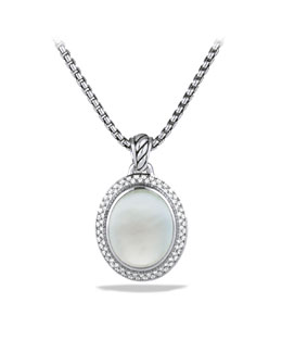 David Yurman DY Signature Oval Pendant with Moon Quartz and Diamonds