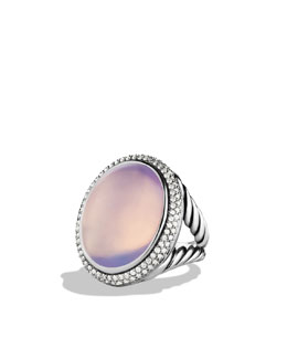 David Yurman DY Signature Oval Ring with Lavender Moon Quartz and Diamonds