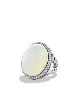 David Yurman DY Signature Oval Ring with Moon Quartz and Diamonds
