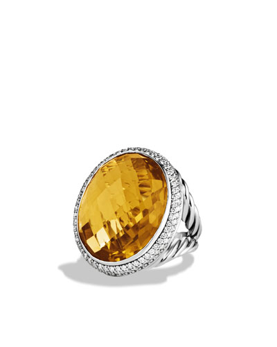 David Yurman DY Signature Oval Ring with Lemon Citrine and Diamonds