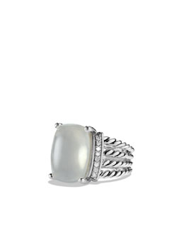 David Yurman Wheaton Ring with Moon Quartz and Diamonds