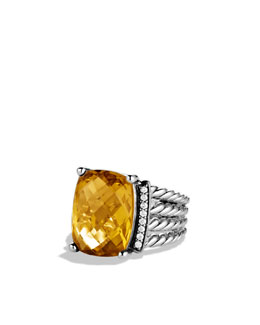 David Yurman Wheaton Ring with Lemon Citrine and Diamonds