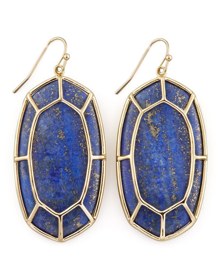 Framed Cabochon Earrings, Lapis Lazuli