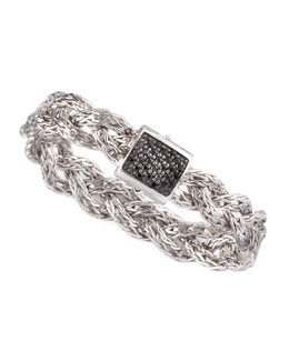 John Hardy Black Sapphire Braided Chain Bracelet, Small