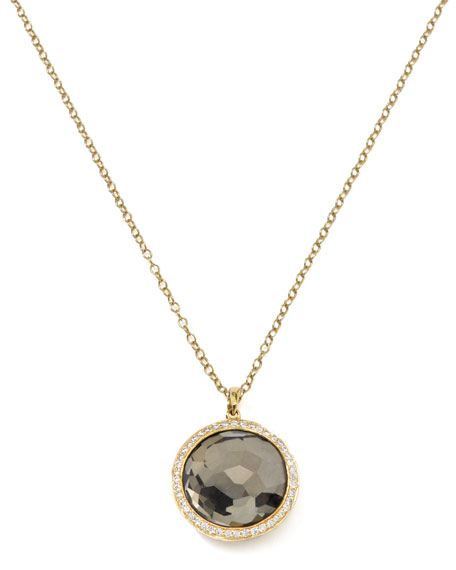 Diamond & Pyrite Lollipop Pendant Necklace
