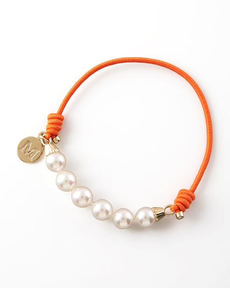 Elastic Pearl Bracelet, Orange