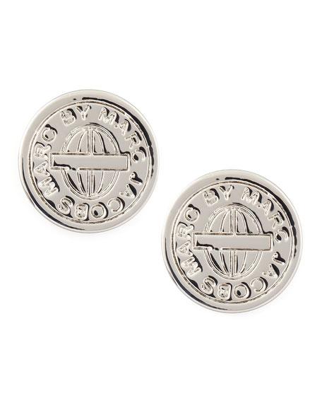 Turnlock-Engraved Logo Stud Earrings, Silver
