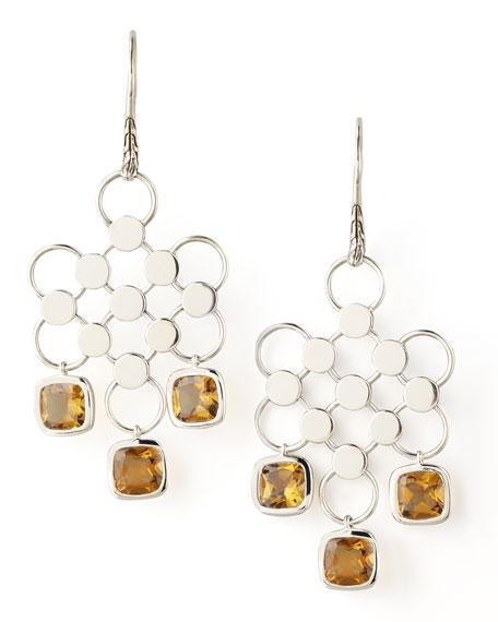 Dot Diagonal Square-Drop Earrings, Cognac Quartz
