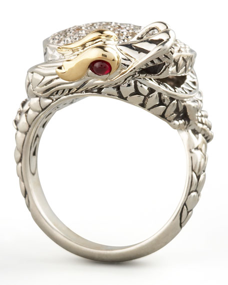 Pave Diamond Dragon Ring, Small