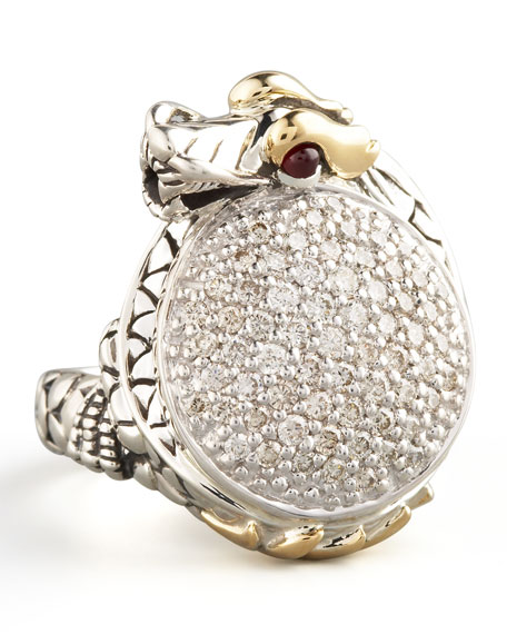 Pave Diamond Dragon Ring, Small