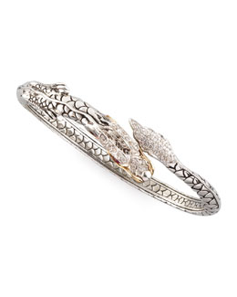 John Hardy Slim Pave Diamond Naga Dragon Cuff