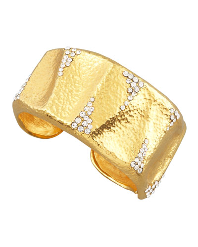 Jose & Maria Barrera Crystal-Detailed Gold Cuff