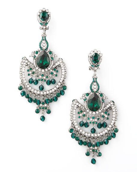 Green & White Crystal Chandelier Earrings