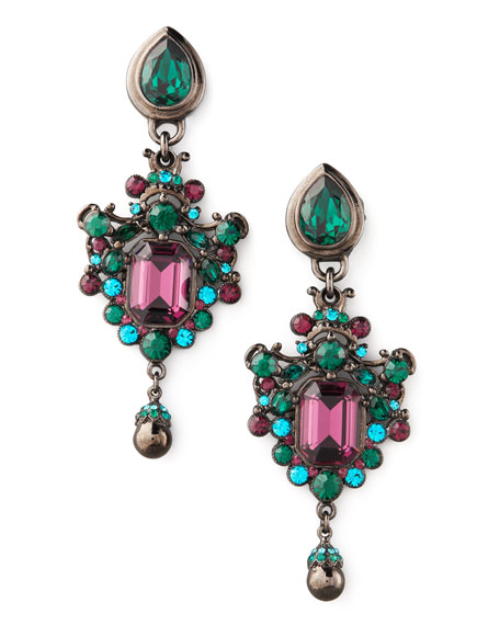 Green & Teal Drop Earrings