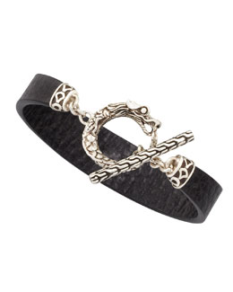 John Hardy Naga Toggle Leather Bracelet, Black