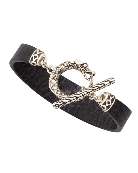 Naga Toggle Leather Bracelet, Black