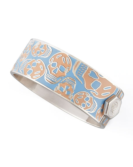 Medium Enamel Skull Bracelet, Blush/Sky Blue