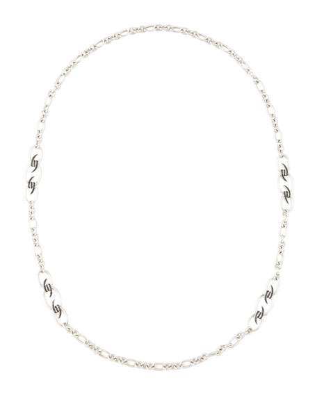 "Black Sapphire Knot Necklace, 37"""