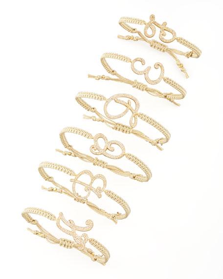 Pave Initial Bracelet, Golden